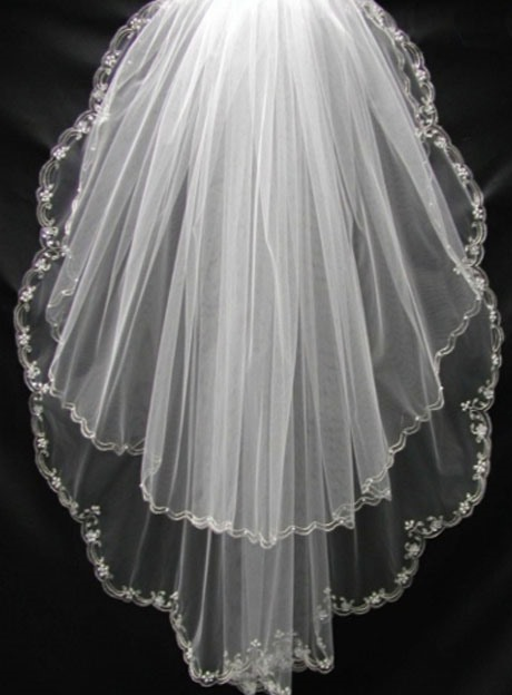 Fantastic Wedding Veil with Floral Edge