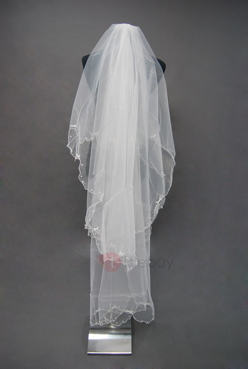 Glamorous Fingertip Style Wedding Bridal Veil with Beaded Edge