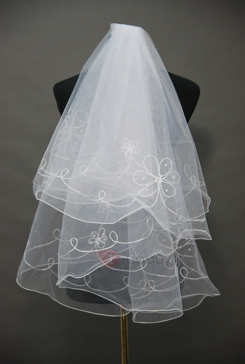 Glittering Elbow Wedding Bridal Veil with Pears