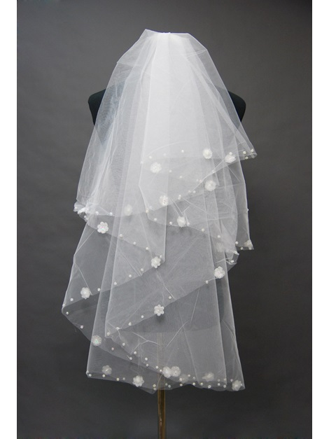 Lovely Tidebuy Fingertip Wedding Bridal Veil with Floral Motif Edge