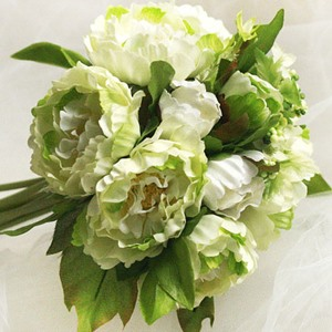 Vital 10 Pieces Green Silk Cloth Peony Wedding Bridal Wrist Bouquet