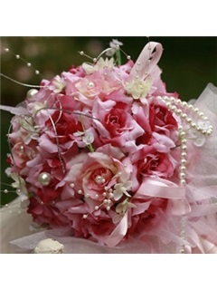Gorgeous Pink and Red Silk Cloth Wedding Bridal Bouquet