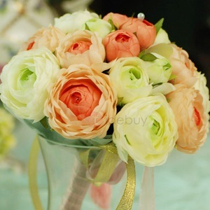 Beautiful Light Orange and Green Silk Cloth Wedding Bouquet for Bride