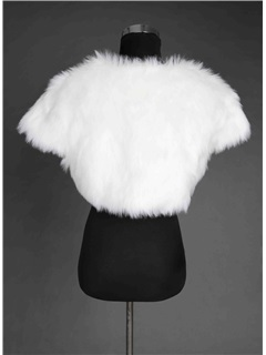 Vintage Cap Sleeve Wedding Jacket with Faux Fur