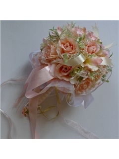 Gorgeous Pale Orange Silk Cloth Wedding Bridal Bouquet