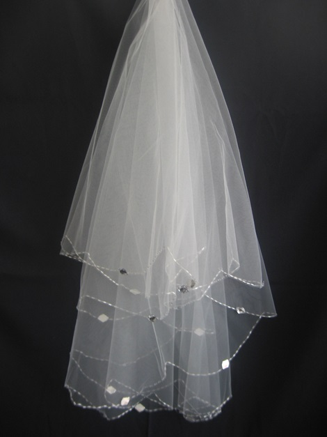 Comely Elbow Wedding Veil with Beaded Edge