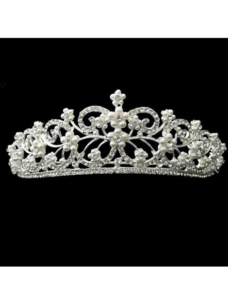 Graceful Alloy with Pretty Rhinestone and Pearl Wedding Bridal Tiara