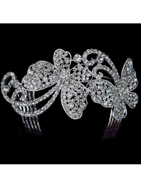 Gorgeous Alloy With Rhinestones Butterfly-Shaped Wedding Flower Girl Combs/ Tiara/ Headpiece