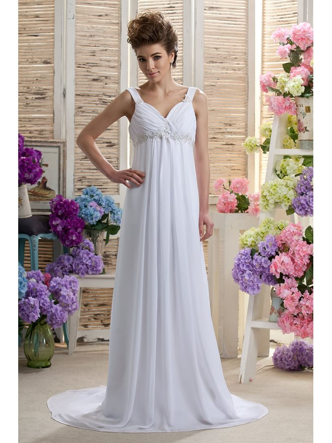 Empire Waist Straps Appliques Beach Wedding Dress