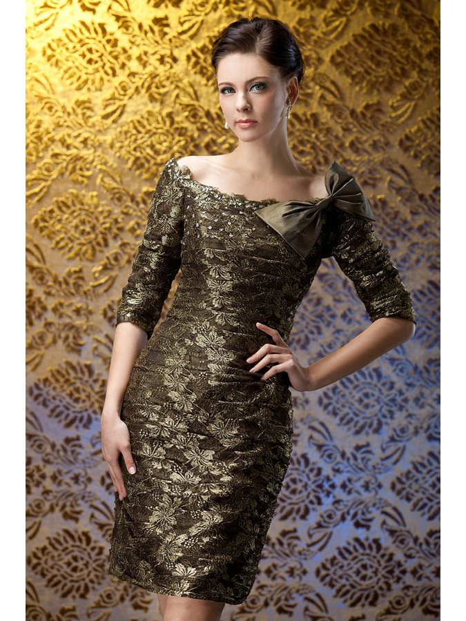 Vintage Lace Bowknot Sheath Off-the-Shoulder Short Polina's Mother of the Bride Dress