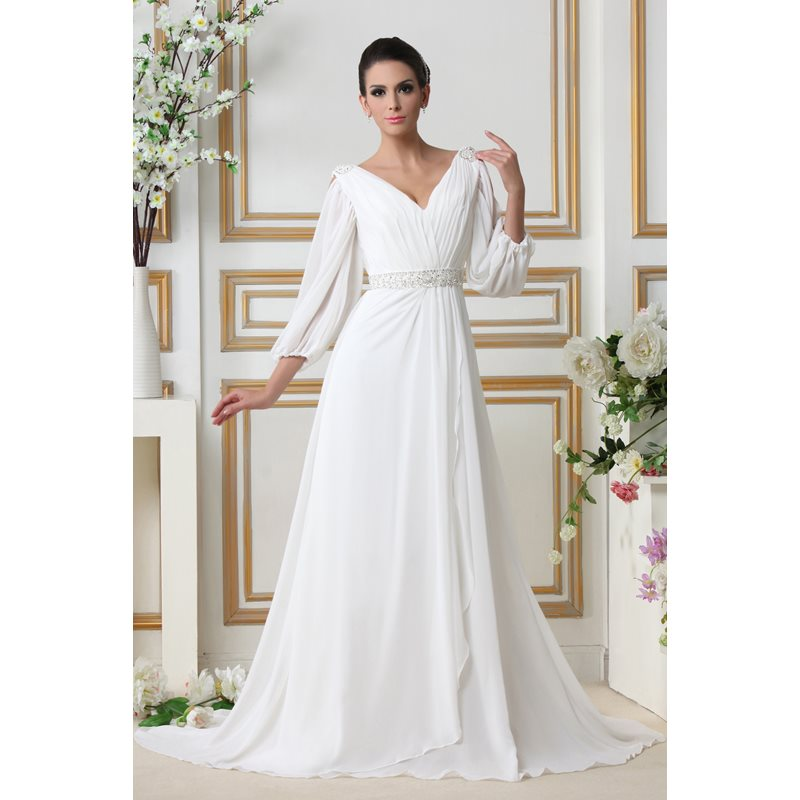 Sequins Beading Wedding Dress with Sleeves фото