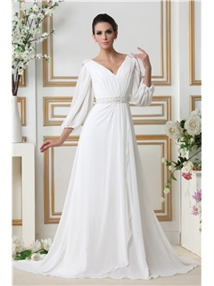 Glamorous 3/4-Length Empire V-neck Court Train Sleeves Taline's Wedding Dress