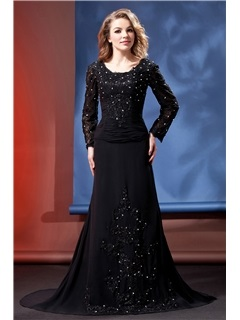 Elegant Trumpet Long-Sleeves Appliques Beading Floor-Length Court Train Daria's Mother of the Bride Dress