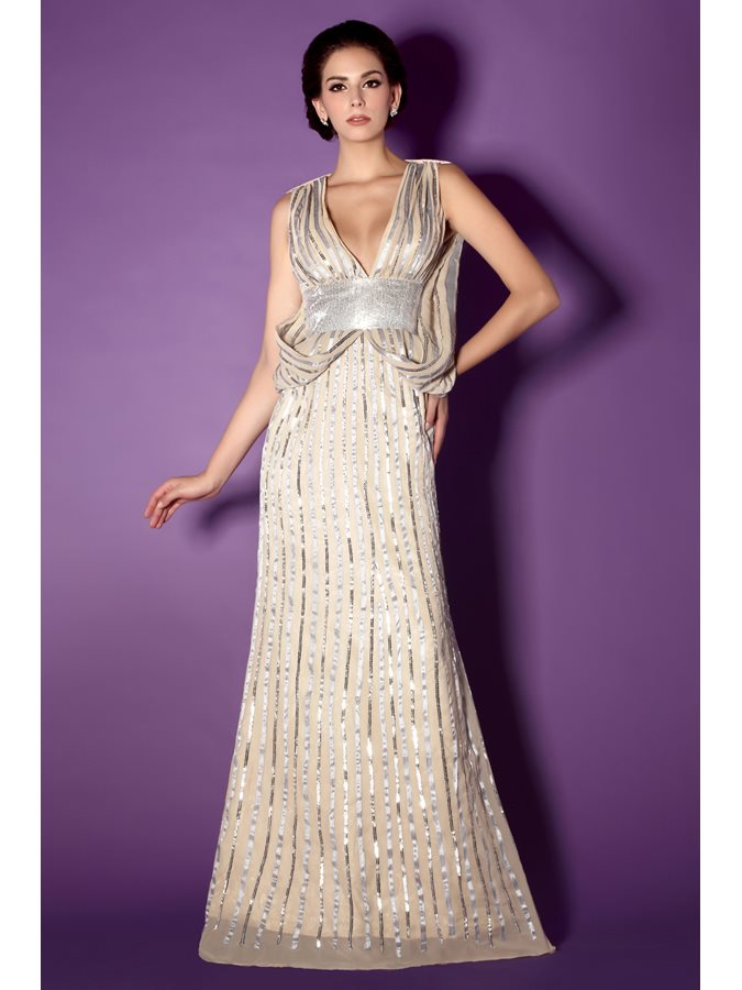 Shiny Deep V-Neck Long Sequined Mother of the Bride Dress