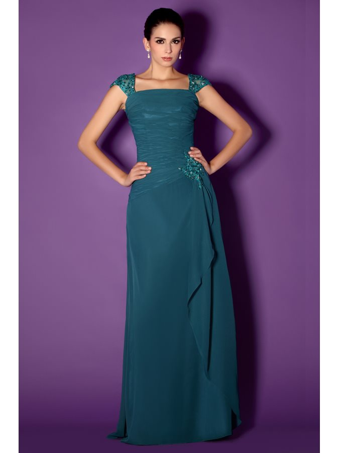 Cap Sleeves Appliques Mother of the Bride Dress