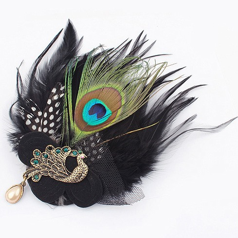 Luxurious Alloy with Pearls&Peacock Feather Corsage/Hair-flower