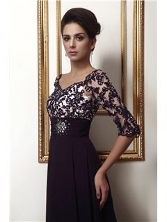 Vintage Appliques Beading Half Sleeves Long Taline's Mother of the Bride Dress