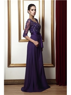 Delicate Appliques A-line V-Neck Half-Sleeves Sashes/Ribbons Floor-Length Taline's Mother Dress