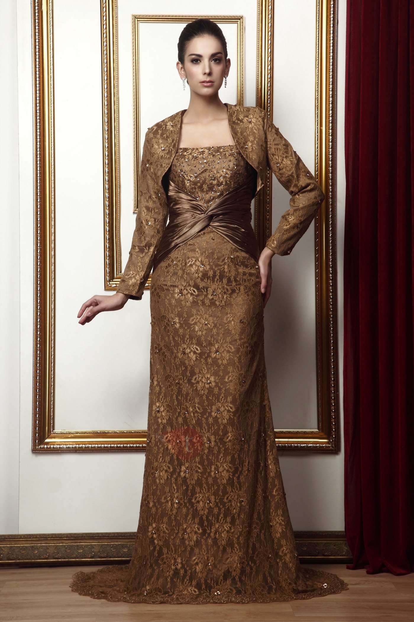 Strapless Lace Sequins Mother of the Bride Dress With Jacket
