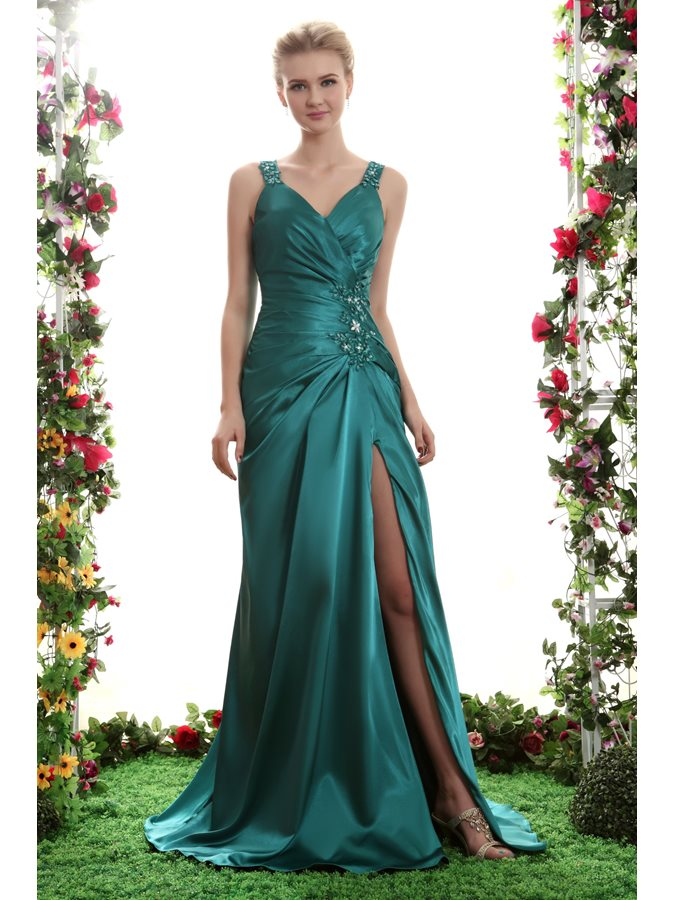 A-Line V-Neck Split-Front Beading Evening Dress