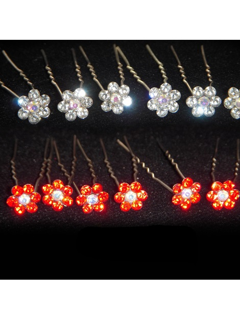 Luxurious Flower Shaped Rhinestone Hairpin (including 6 piece )