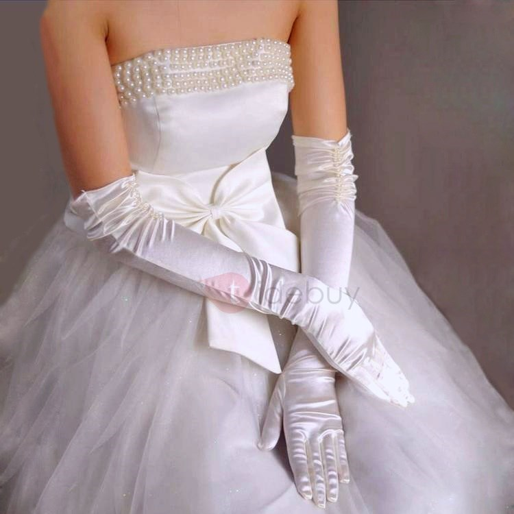 Amazing Long Wrinkled Satin Wedding Gloves with Pearls(more colors)