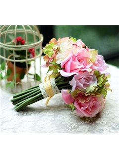 Dramatic Sphere Shaped White Roses Wedding Bridal Bouquet with White Ribbon