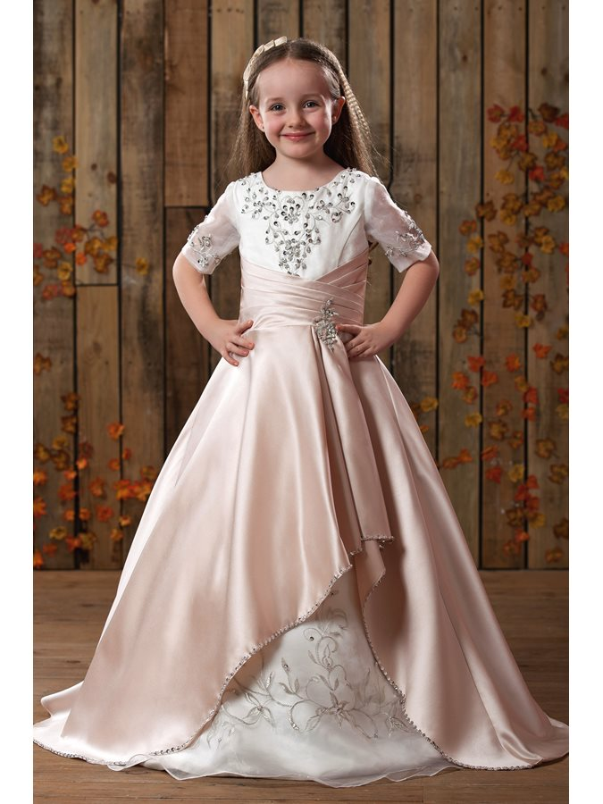 Gorgeous Princess Scoop Applique Embroidery Flower Girls Dress