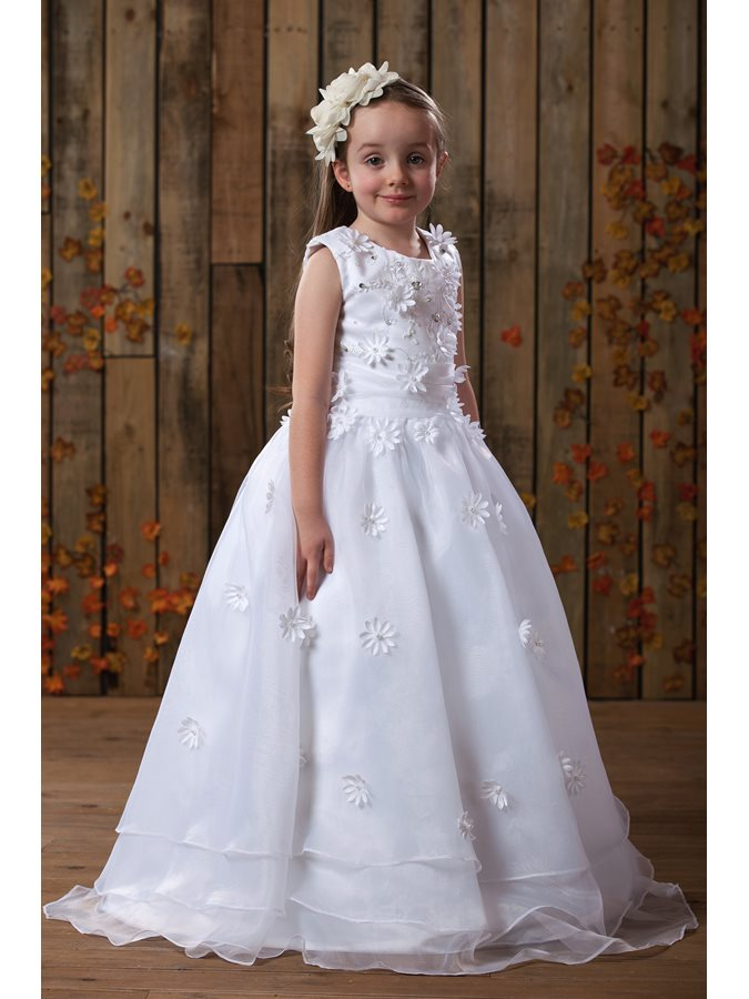 Beautiful Scoop Neck Flowers Beading Girl's Party Dress