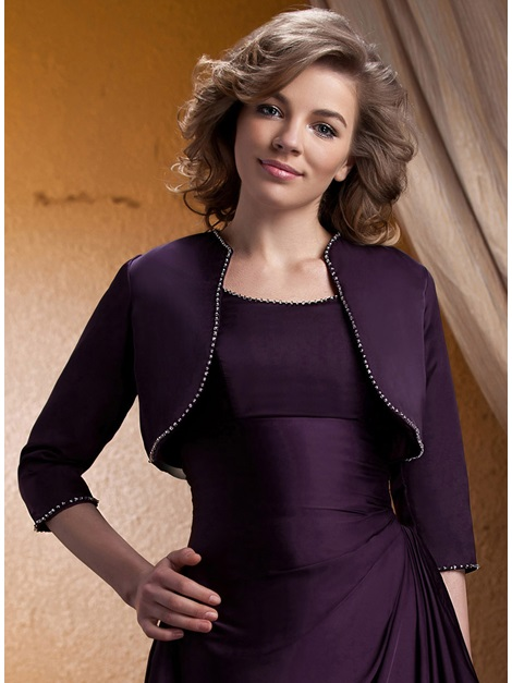 Lady's 3/4 Sleeve Rhinestones Trimmed Evening Jacket