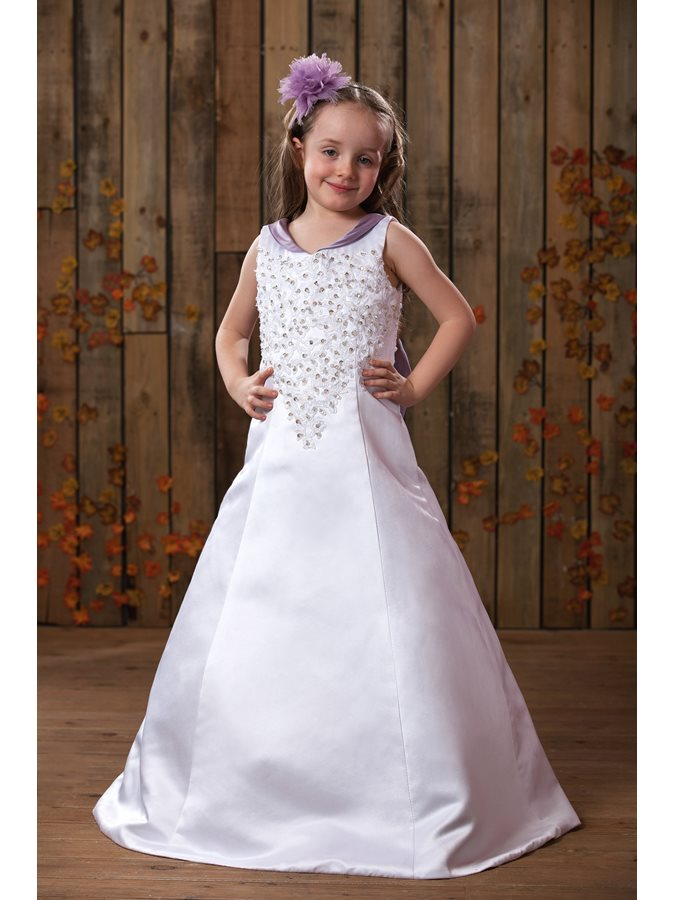 A-Line Appliques Beading Bowknot Flower Girl Dress