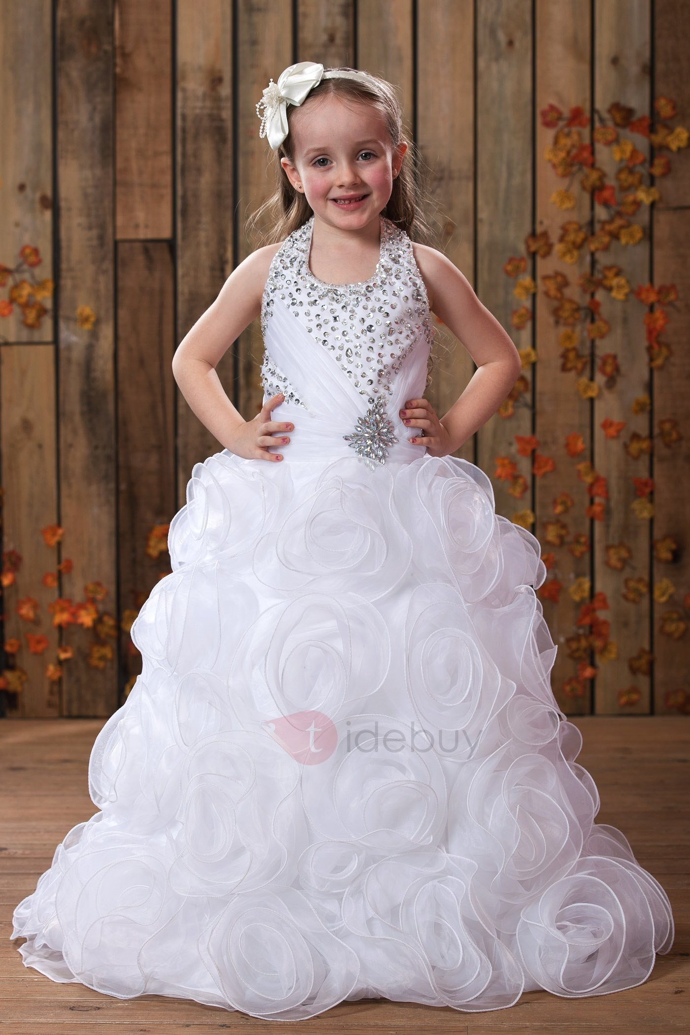 Pretty A-Line Floor-length Flowers Halter Embellishing Flower Girl Dress