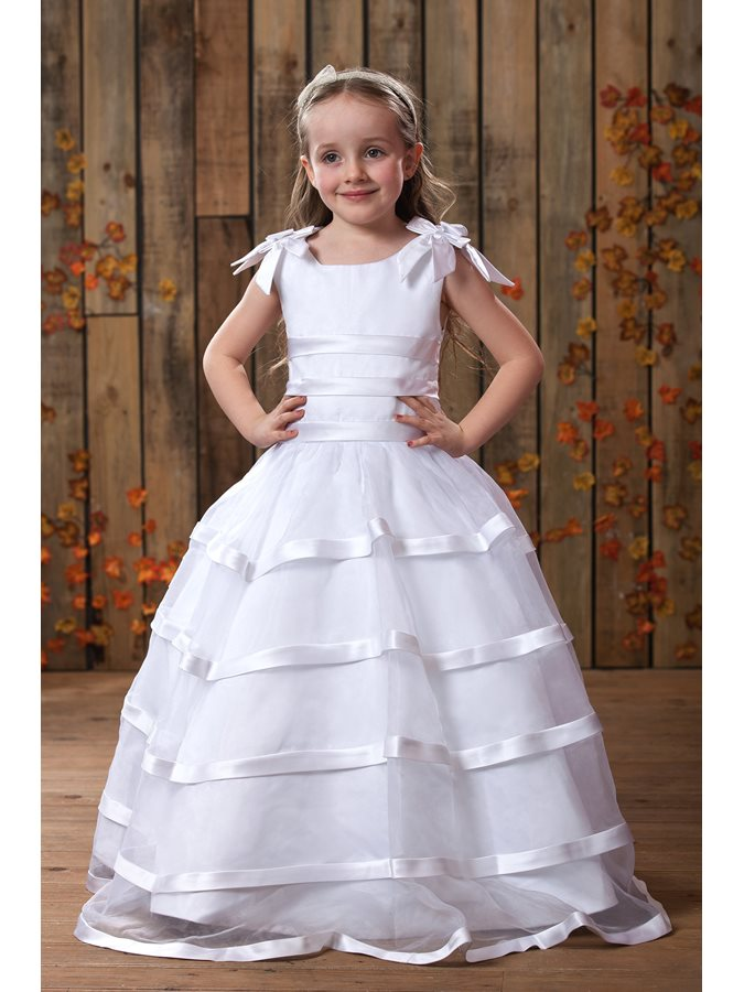 Lovely A-Line Straps Bowknot Flower Girls Dress
