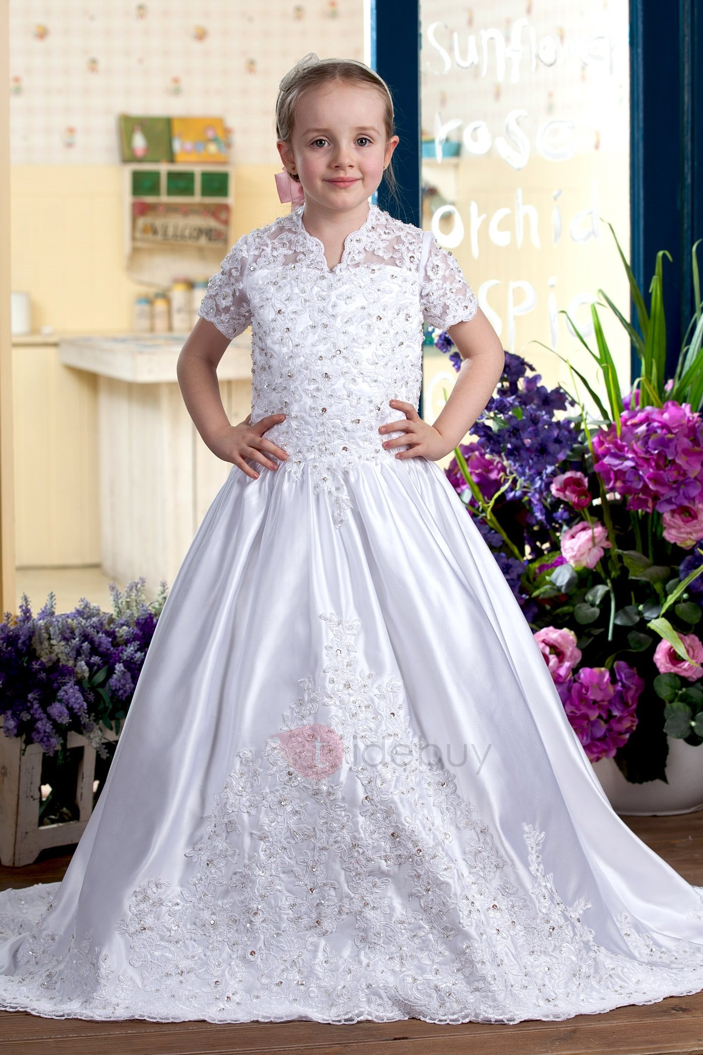 A-Line V-Neck Short Sleeves Appliques Sequins Flower Girls Dress