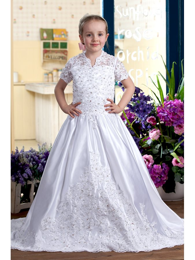 V-Neck Short Sleeve Appliques Sequins Flower Girl Dress
