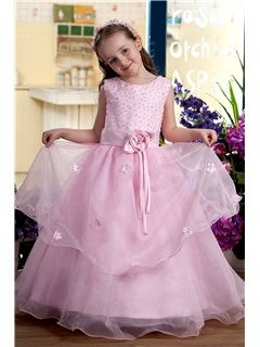 Attractive Scoop Tea-length A-line Sash Flower Girl Dress