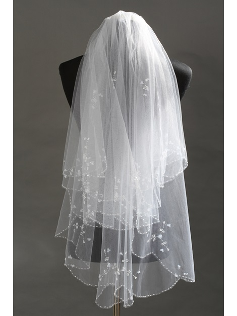 Exquisite Elbow Tull Wedding Bridal Veil with Beads
