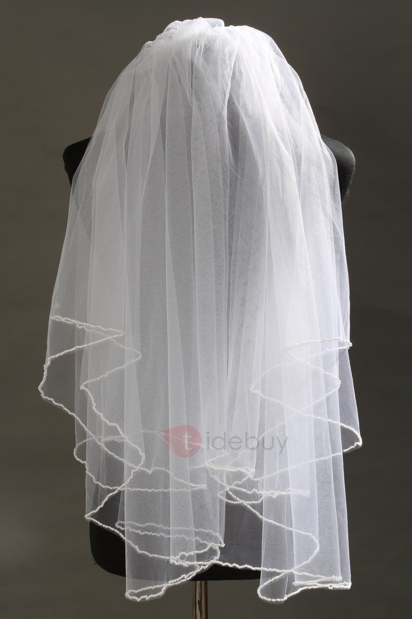 2 Layer Elbow Tull Wedding Bridal Veil with Beads