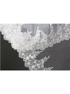 Faddish Chapel White Wedding Bridal Veil with Appliques Edge