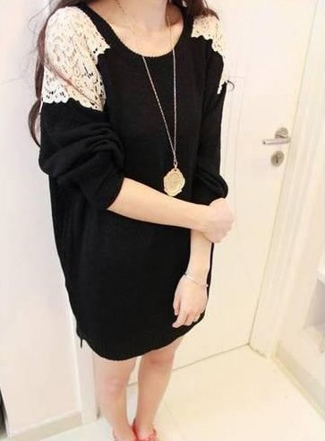 Carefree Korean Style Split Joint Lace Long Knit Sweater