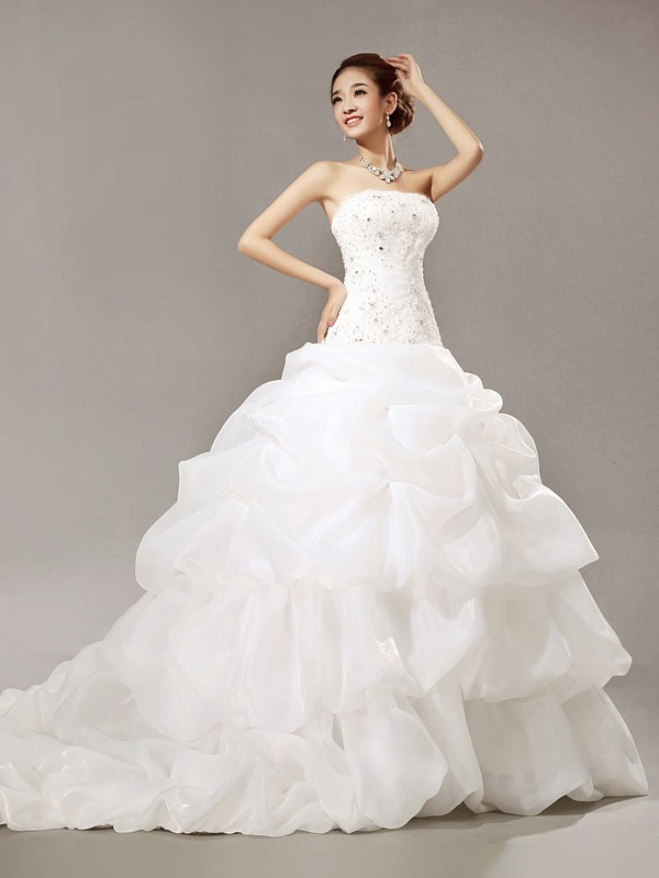 Gorgeous Mermaid Beading Chepal Train Scoop Wedding Dress