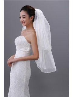 Simple Elbow Bridal Veil with Beadings