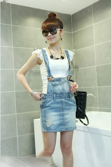 7ebacdc10bd Attractive Korean Style Jeans suspender skirt   Tidebuy.com