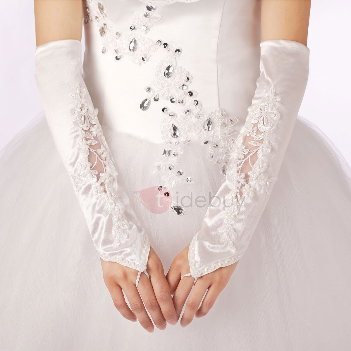Half Sleeves Fingerless Appliques Beaded Wedding Gloves