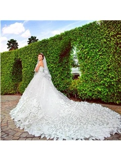 Gorgeous Patterned Flowers Beading Cathedral Train Wedding Dress