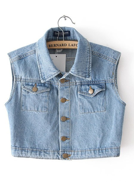 Cool New Single-Breasted Pockets Jeans Short Jacket