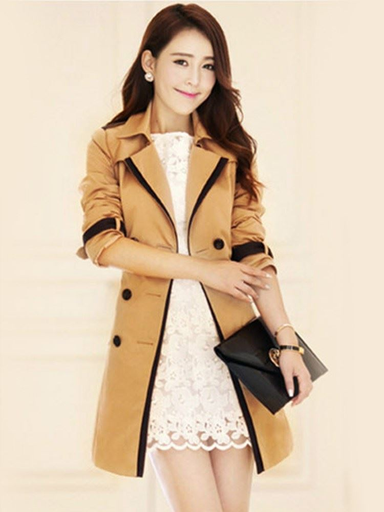 Фото #1: Slim Double Breasted Mid Length Womens Trench Coat