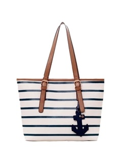 Splendid Preppy Striped Navy Style Casual Handy Women's Tote Bag 26