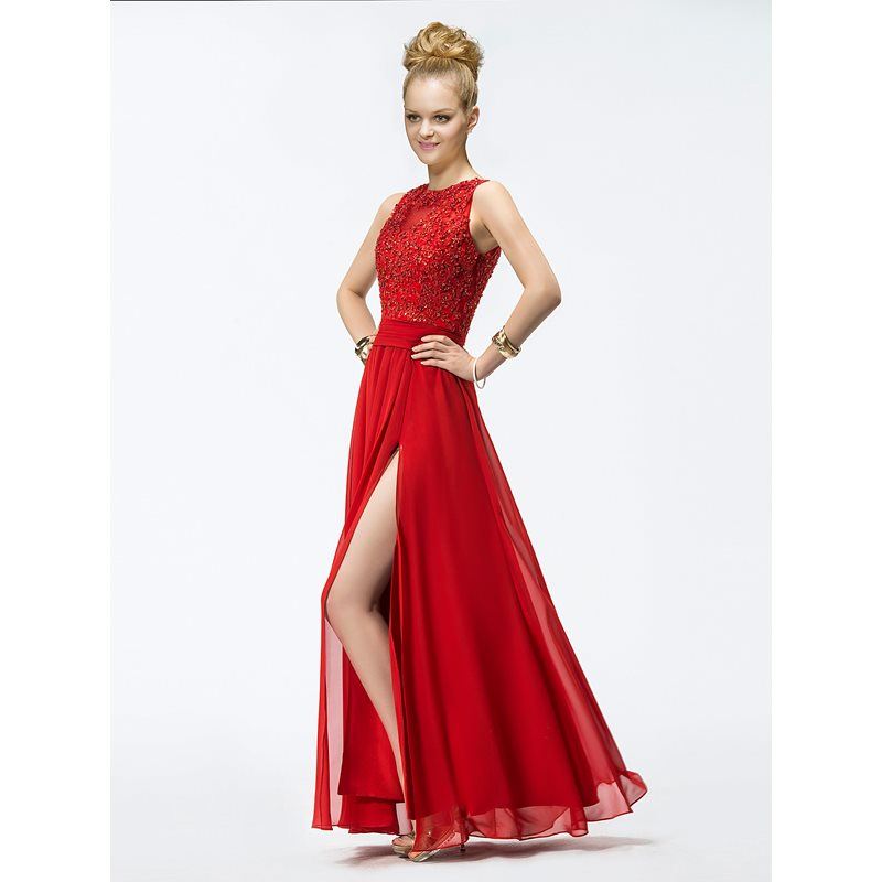 Image of A-Line Appliques Split Front Prom Dress