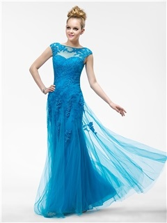 Vogue Sheath Appliques Bateau Neckline Cap Sleeves Long Evening Dress
